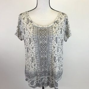 Lucky Brand BoHo Print Short Sleeve Top L